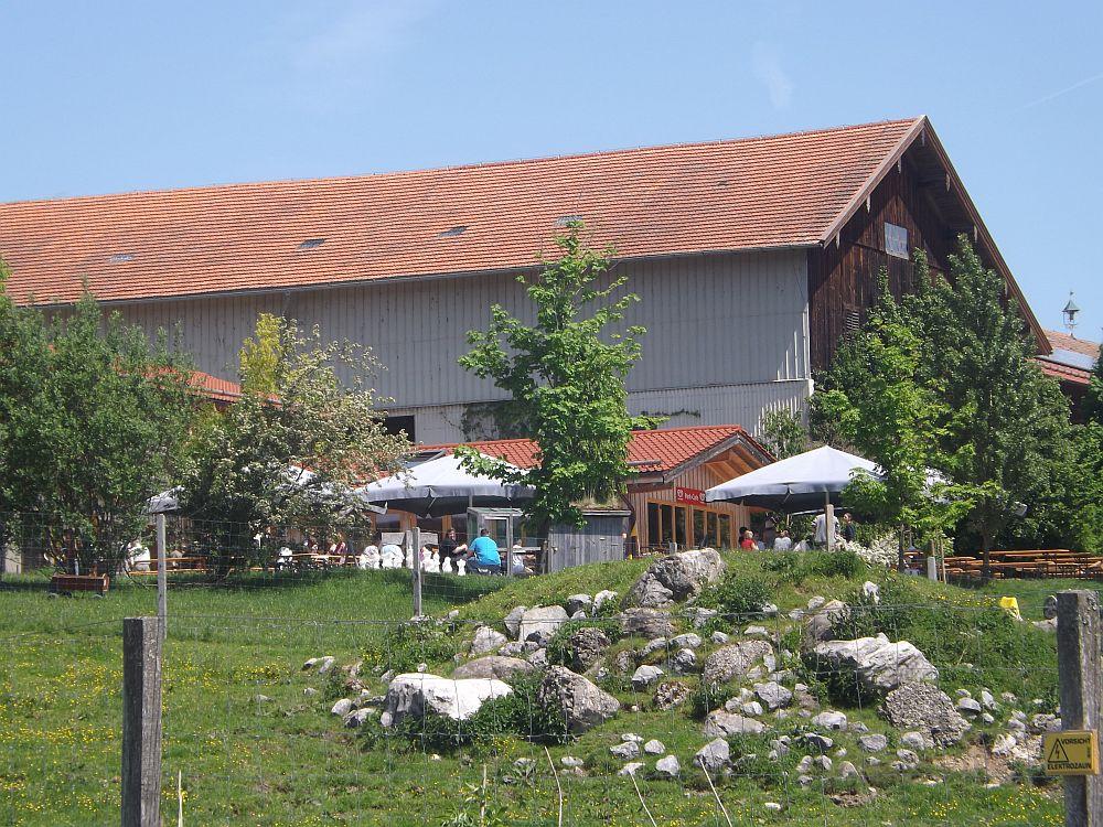 Eingang/Restaurant, davor das Gehege der Heckrinder