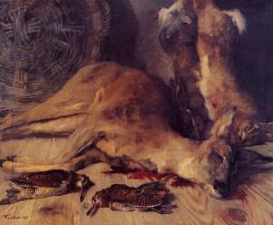 Stillleben mit Reh, Hasen und Schnepfen (Heinrich Wilhelm Trübner, 1873)