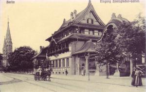 Eingang des Zoologischen Garten Berlin (Postkarte, ca. 1900)