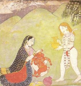 Shiva und Parvati baden ihren Sohn Ganesha. Kangra-Miniatur, 18. Jahrhundert. Allahabad Museum, New Delhi.