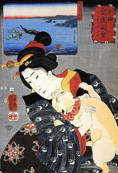 Frau mit Katze, Japan, 19. Jahrhundert (Utagawa Kuniyoshi)