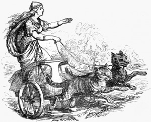 The goddess Freyja, riding in her cat-pulled wagon (Ludwig Pietsch)