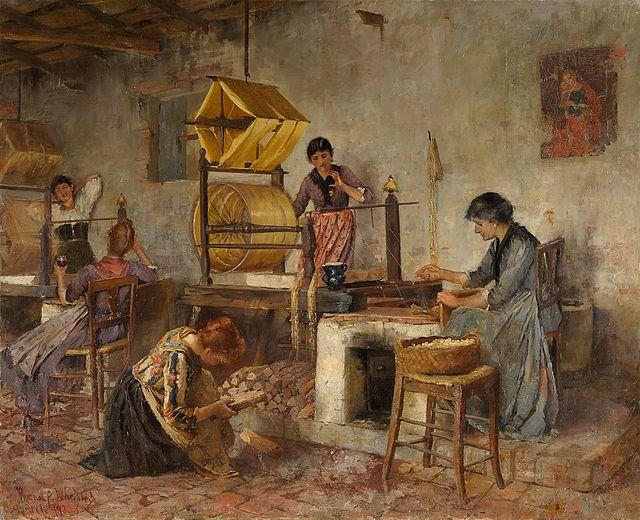 Seidenproduktion in Italien: Frauen in der Webstube, Gemälde von Annie Renouf Whelpley (1893)
