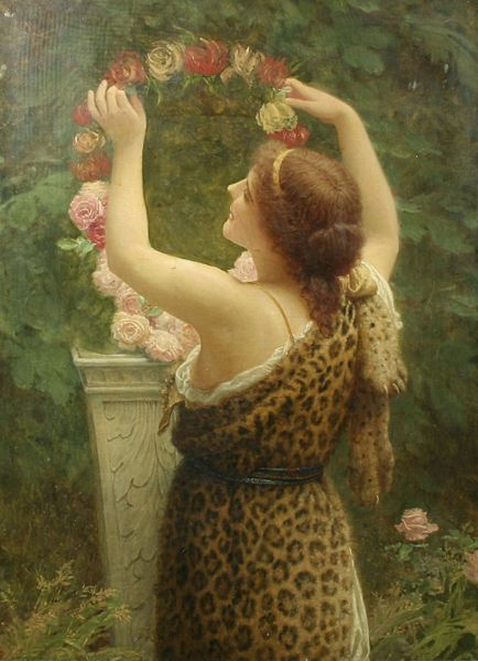 Woman with a Floral Wreath in a Leopard Dress (Charles Edward Perugini)