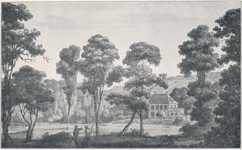 Goethes Gartenhaus, Zeichnung von Georg Melchior Kraus 1777