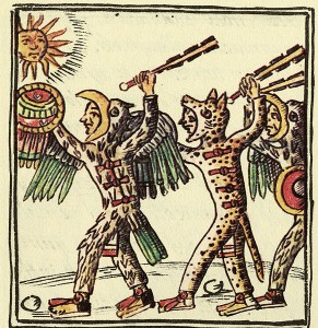 Aztekenkrieger: Adlerkrieger, rechts; Jaguarkrieger, links