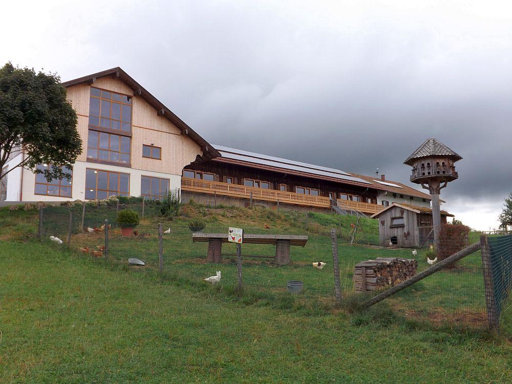 Links befindet sich der Indoor-Spielplatz, davor die Anlage mit Haushühnern und Taubenschlag (Bergtierpark Blindham)