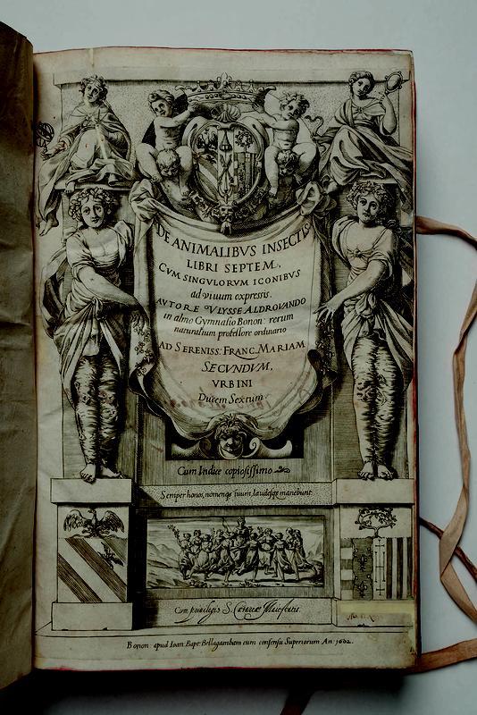 """Titelseite der Erstausgabe von """"De animalibus insectis"""", 1602 von Ulysse Aldrovandi (W. Kehmeier / Landesmuseum Natur und Mensch Oldenburg)"""
