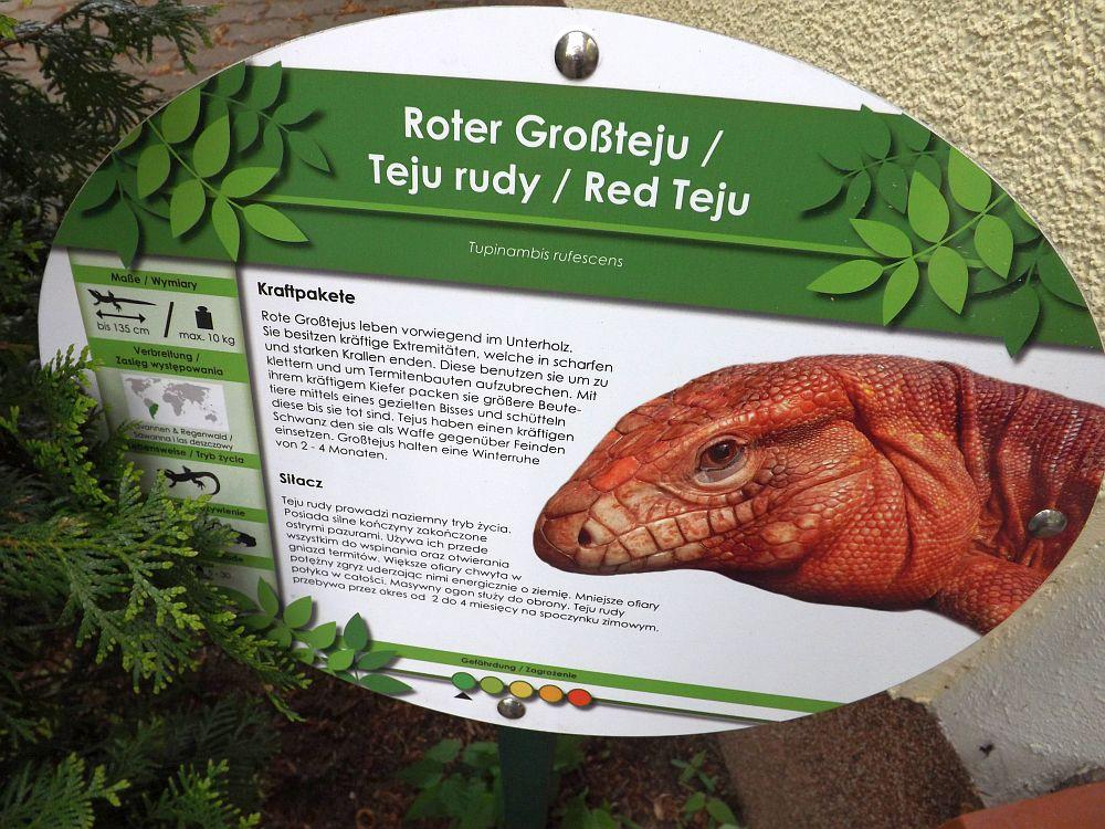 Beispiel für die Beschilderung im Zoo (Zoo Eberswalde)