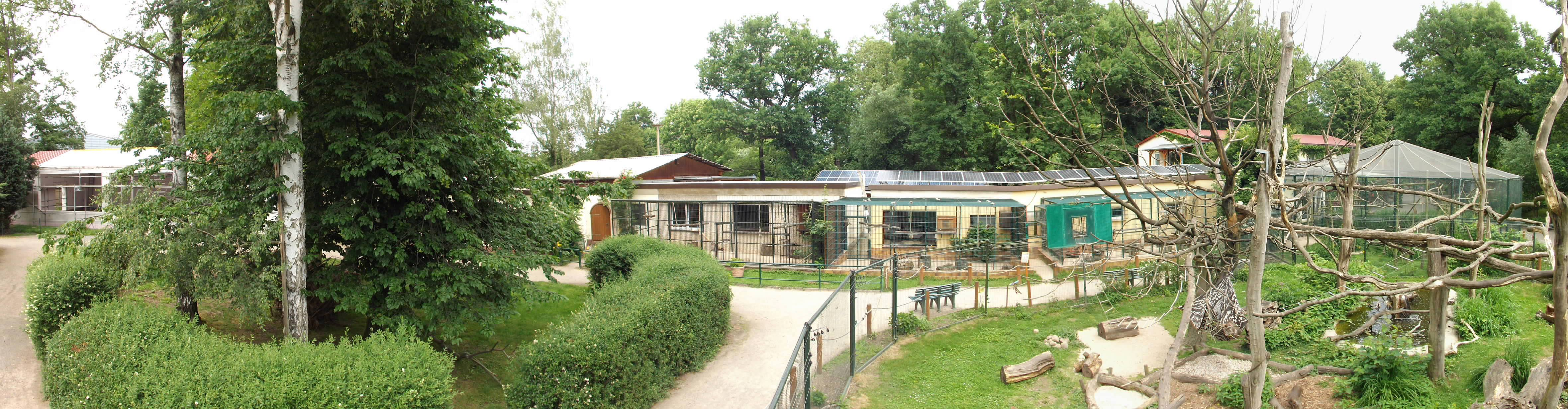 Hutaffenanlage, links die Baustelle des neuen Tropicana (Tierpark Eilenburg)