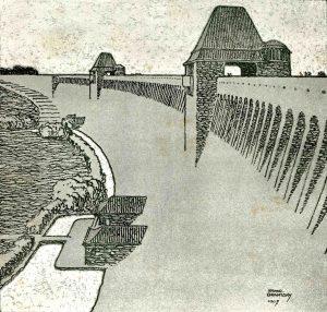Entwurf der Möhnetalsperre, Architekt Franz Brantzky, 1907