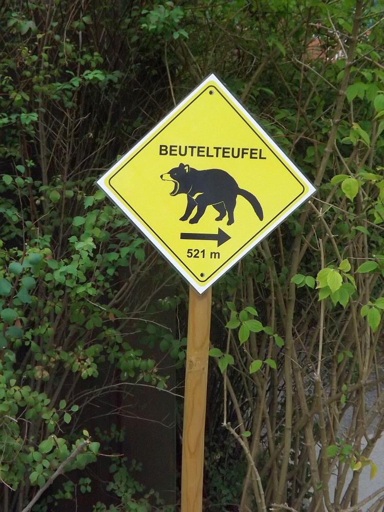 Hinweisschild: Beutelteufel hier lang! (Zoo Duisburg)