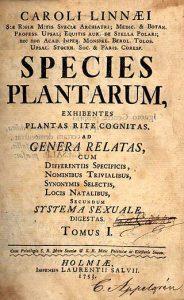 Titelseite des ersten Bandes der 1. Auflage von Species Plantarum (1753)