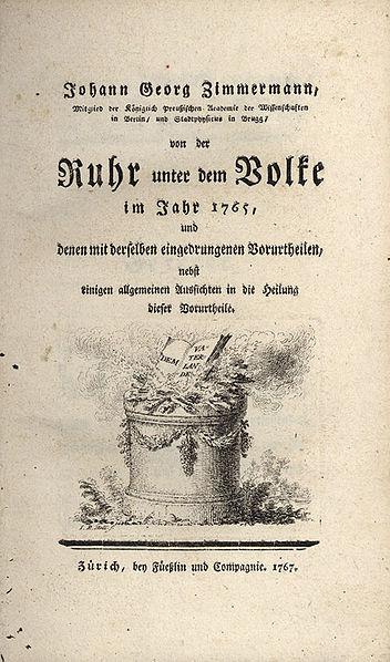 Die erste bedeutende wissenschaftliche Arbeit über die Ruhr war Johann Georg Zimmermanns Von der Ruhr unter dem Volke im Jahr 1765, und denen mit derselben eingedrungenen Vorurtheilen, nebst einigen allgemeinen Aussichten in die Heilung dieser Vorurtheile (Zürich 1767)
