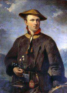 In der eigens für die Lapplandreise erworbenen Kleidung präsentierte Linné sich gern. Ausschnitt eines Porträts von Hendrik Hollander (Kopie von 1853).