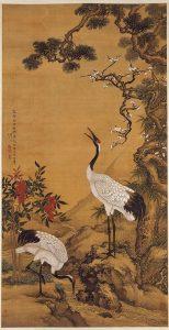 Drei chinesische Symbole: Kiefer, Pflaume und (Mandschuren)Kranich (Shen Quan, 1759)