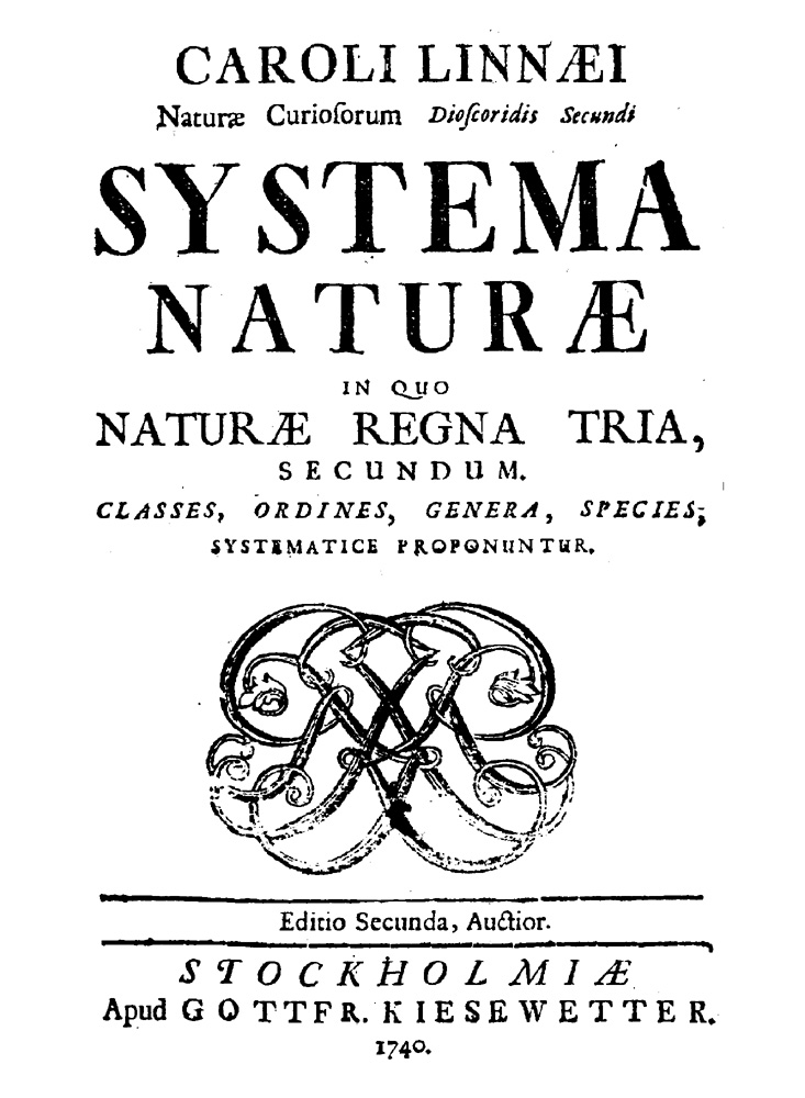 Systema Naturae, 2nd Edition