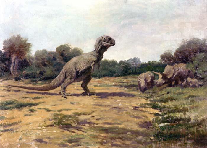 Veraltete Darstellung von Tyrannosaurus rex (Charles R. Knight)
