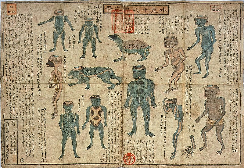 """Darstellungen von Kappa, Farbholzschnitt mit dem Titel Suiko jūni-hin no zu (水虎十二品之図, dt. """"Illustrierter Führer zu den 12 Arten von Kappa""""), ca. 1842-46, von Sakamoto Kōnen und Sakamoto Juntaku zusammengestellt und illustriert."""