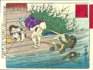 "Farbholzschnitt von Tsukioka Yoshitoshi mit dem Titel ""Kappa-Abwehr"", 1881"